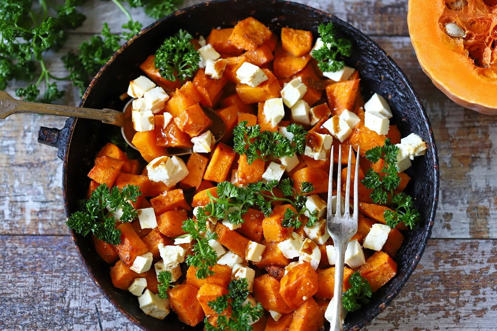 Selective,Focus.,Pieces,Of,Pumpkin,Baked,With,Feta,Cheese,In